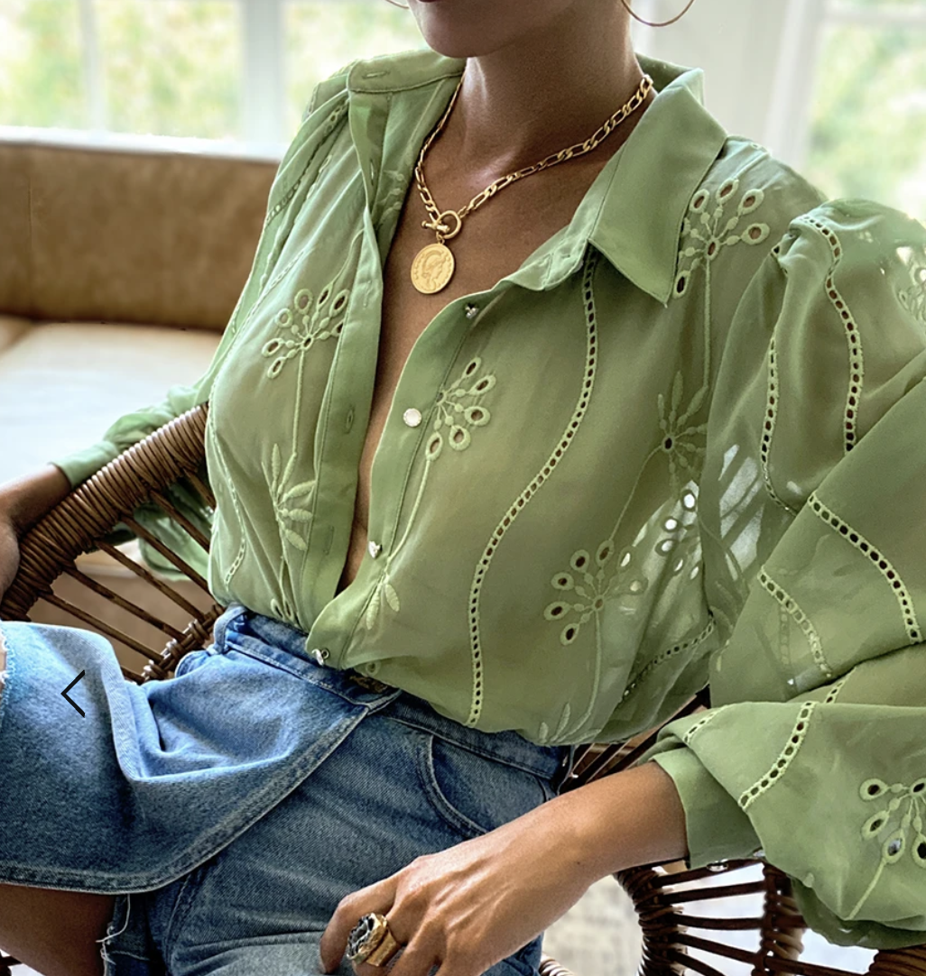 green long sleeve blouse runaway the lable