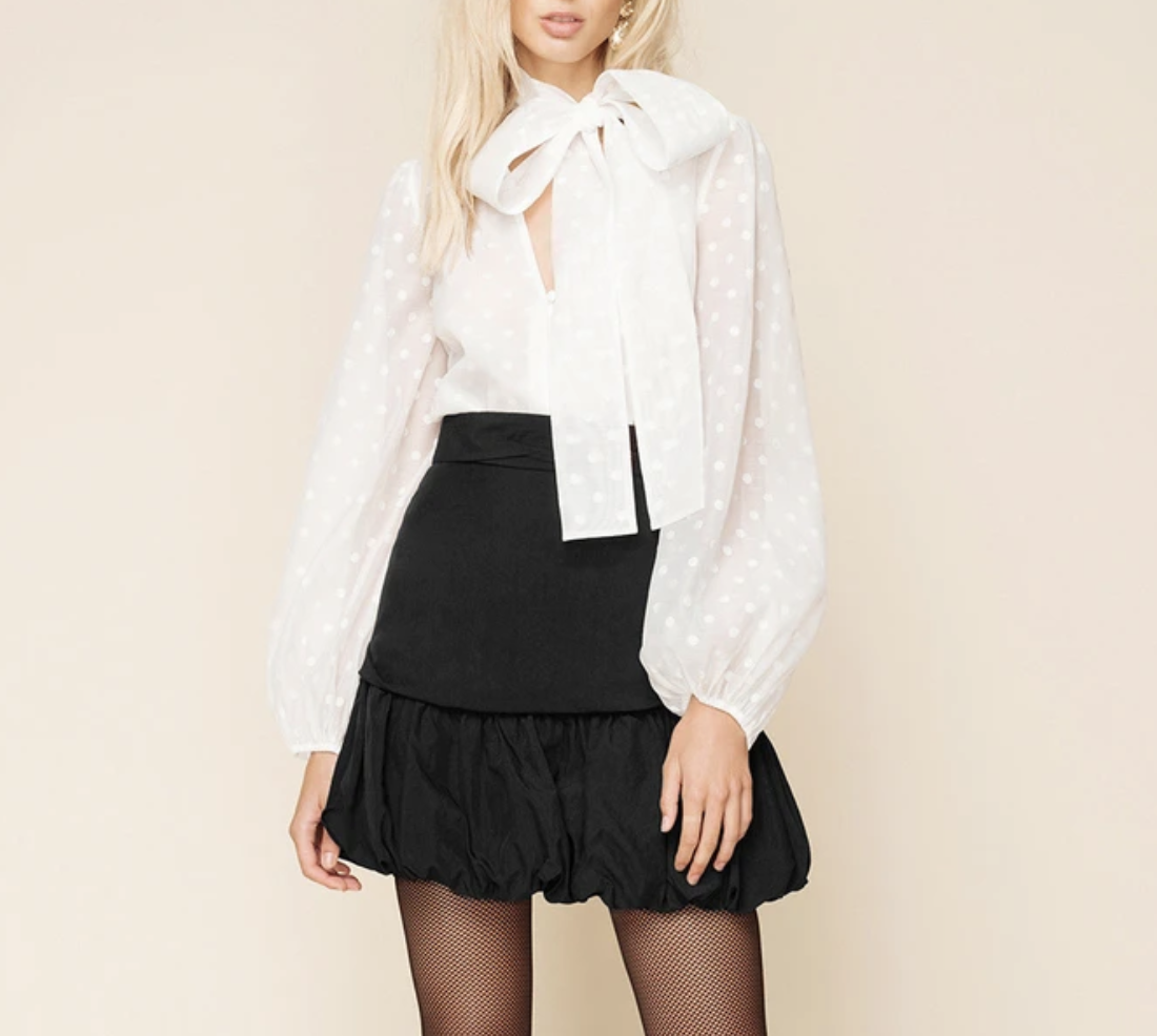 pussy bow tie white blouse sheike